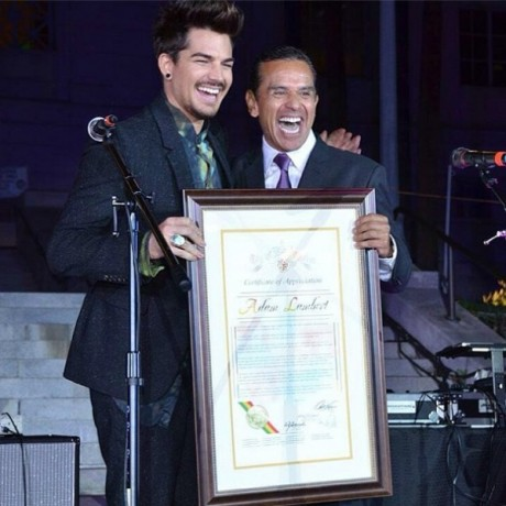 Adam Lambert and Los Angeles Mayor Antonio Villaraigosa. Photo courtesy of CoralMermaid.