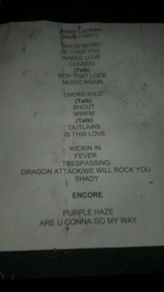 Fontainebleu Set List