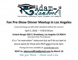 Adam Lambert's Los Angeles Concert – Fan Pre-Show Dinner!