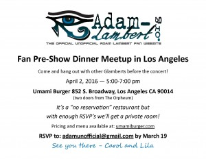 News for Los Angeles Pre-Show Adam Lambert Fan Dinner