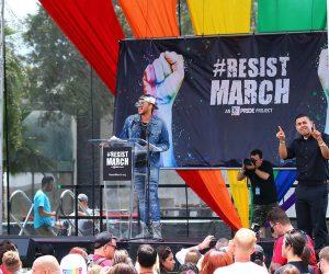 Adam Lambert Delivers Dynamic Speech at LA's Resist March